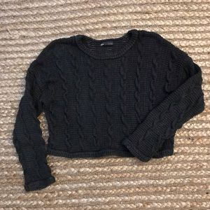 Cropped chunky knit sweater
